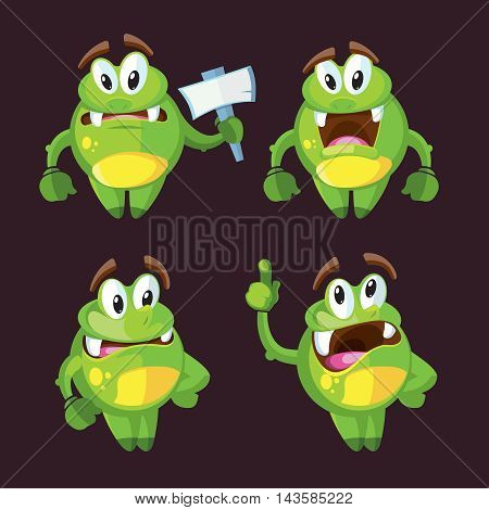 Cute cartoon monster character in different poses vector illustration. Funny creature in green color