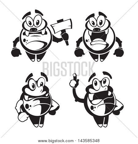 Funny cute little black quirky monster vector. Happy character friendly with joy face illustration