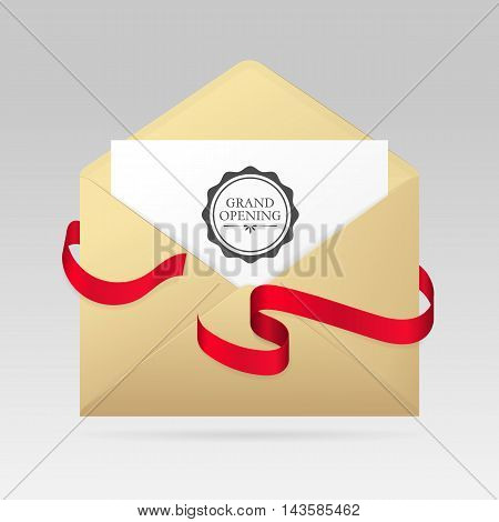 Golden open envelope with invitation card for grand opening and shiny silk red ribbons. Vector realistic envelope template isolated from a background.