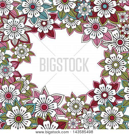 Floral pink greeting or invitation card. Vector illustration