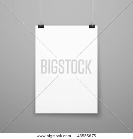 Realistic blank white paper poster hanging on wall vector mockup. Template page of banner for exhibition illustration