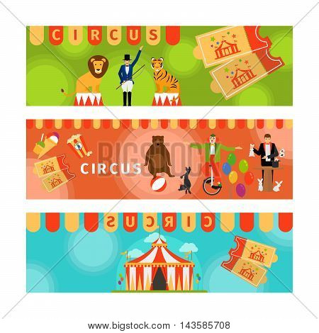 Circus banners with fun flat elements. Vector illustration