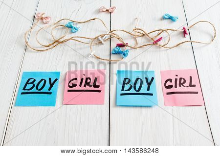 Colorful stickers with text and garland. Greeting composition for newborn babies on white wooden background, copy space. It's a girl and boy twins concept