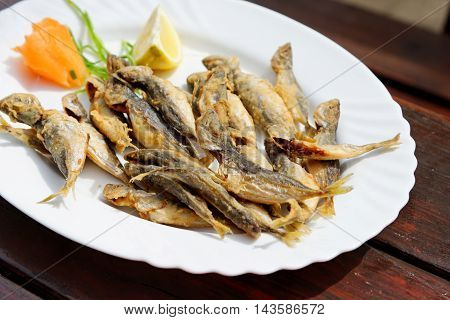 Tradition Bulgarian seafood - fried scad served in a prestigious restaurant