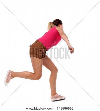 side view woman start position.  Rear view people collection.  backside view of person.  Isolated over white background. Sport blond in brown shorts runs past.