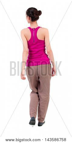 back view of walking  curly woman.  backside view of person.  Rear view people collection. Isolated over white background.dark girl walking slowly looking at the side.