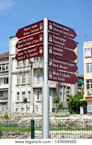 Tourist attractions sign post in the town of Varna on the Black Sea Coast Bulgaria.