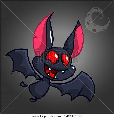 Cartoon bat. Halloween vector cute bat icon. Halloween element