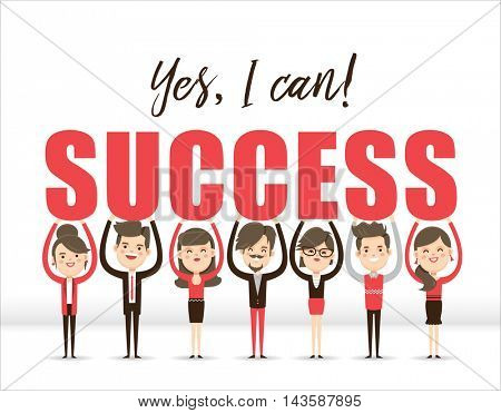 Success - Business concept design. Group of business people lifting word SUCCESS.