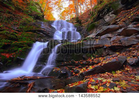 Beautiful waterfall in forest at sunset. Autumn landscape fallen leaves water flow.