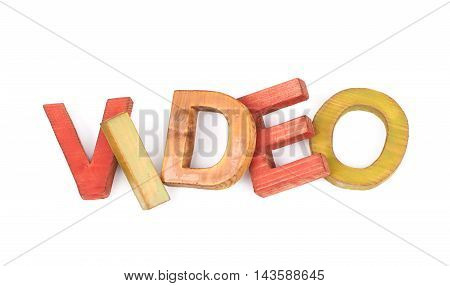 Word Video made of colored with paint wooden letters, composition isolated over the white background