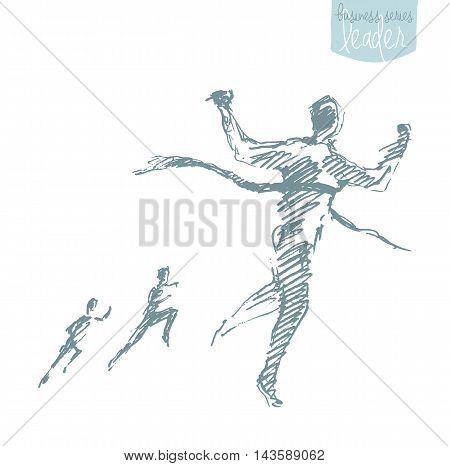 Hand drawn vector illustration of a man, crossing winner ribbon. Successful finish concept, challenge, win. Vector illustration, sketch.