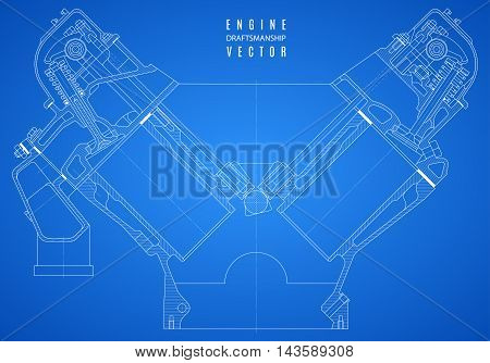 blueprint engine project technical drawing on the blue background. vector illustration eps10
