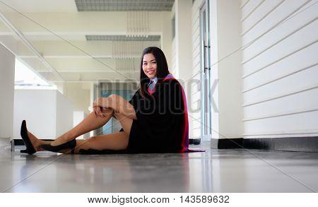 A beautiful graduate  happy girl in Thailand
