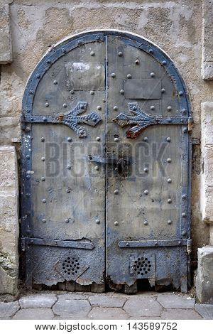 iron door with the handle old metal Church doors