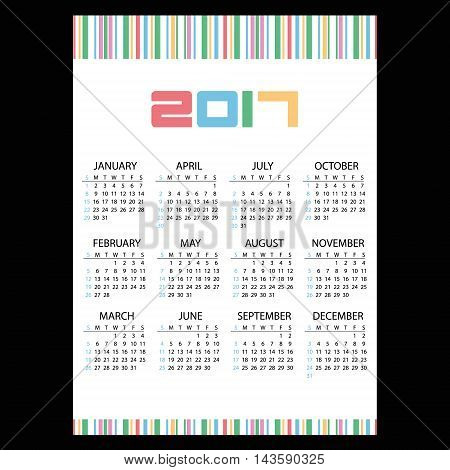 2017 Simple Business Wall Calendar Color Bar Code Eps10