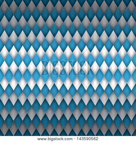 Oktoberfest beer festival background, blue and white wallpaper, volume rhombus vector pattern