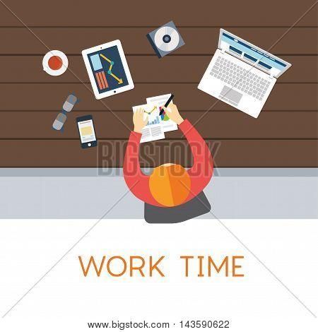 Office worker. Business work. Flat vector illustration