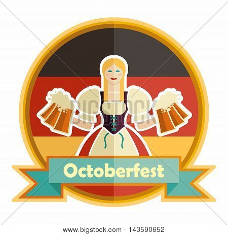 Bavarian girl with beer. Oktoberfest label with ribbon banner and space for text, isolated