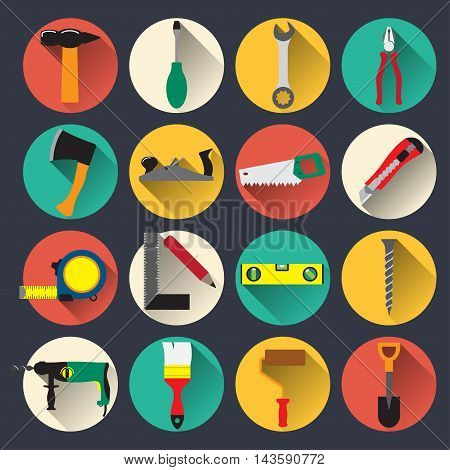 Common household tools icons. Flat style. Vector illustration