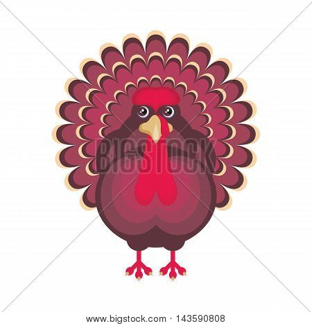 the image of a big beautiful Turkey in cartoon style