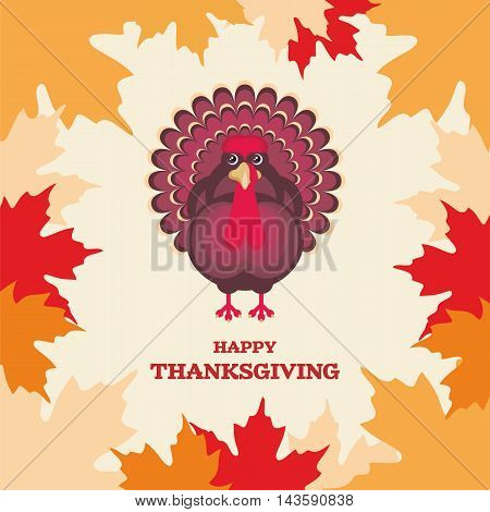 thanksgiving greeting card with the image of a big beautiful Turkey in cartoon style on background of autumn maple leaves