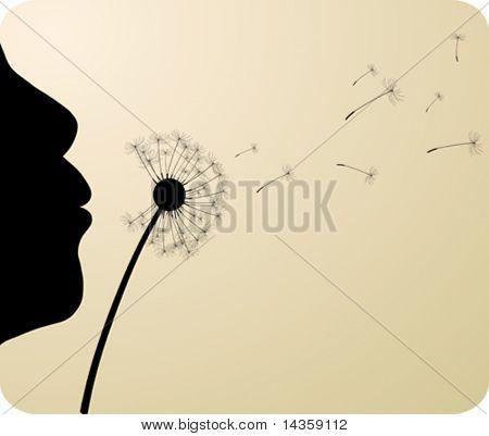 Girl and dandelion. Vector illustration.