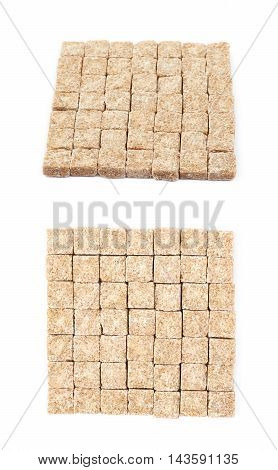 Square made of multiple brown sugar cubes isolated over the white background, set of two different foreshortenings