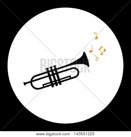 Black Isolated Trumpet Or Tube Musical Instrument Eps10