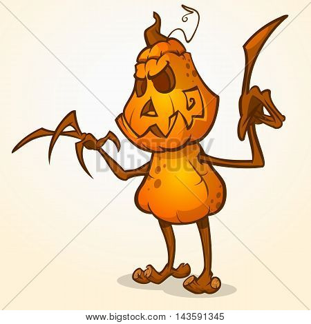 Halloween cartoon scarecrow with pumpkin head. Vector cartoon character isolated on white