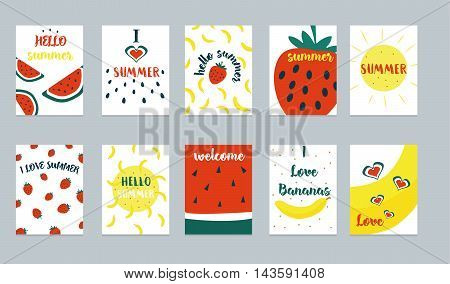 Vector set of bright summer cards. Beautiful summer posters with pineapple, watermelon, lemon, palm leaves and hand written text.