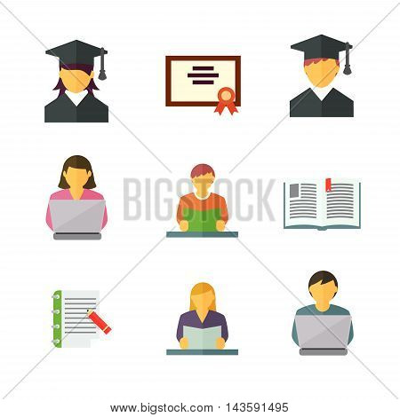 Management and human resources flat icons set. Business persons,