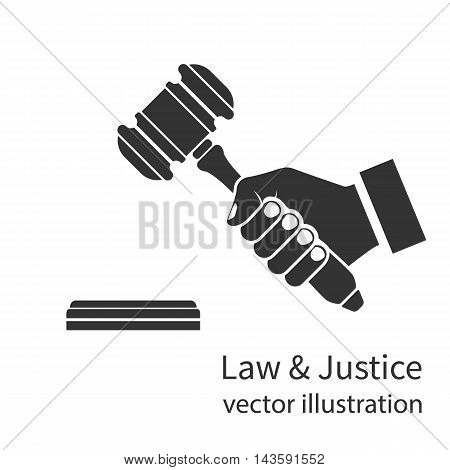Hand Holding Judges Gavel Icon.