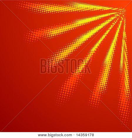 Orange halftone sun. Vector illustration.
