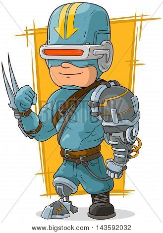 A vector illustration of cartoon cool combat cyborg superhero