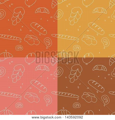 Vector set of bakery goods seamless pattern backgrounds.