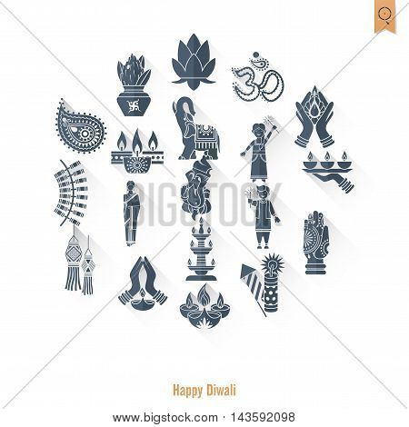 Diwali. Indian Festival Icons. Simple and Minimalistic Style. Vector