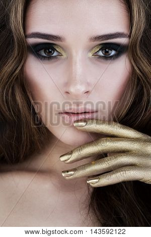 Beautiful Female Face. Glamorous Woman with Makeup