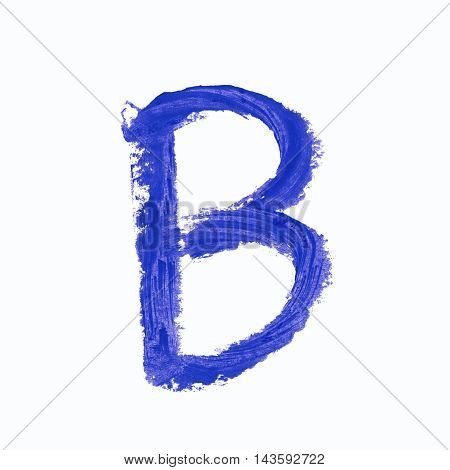 Single b latin letter symbol drawn with a wax crayon isolated over the white background
