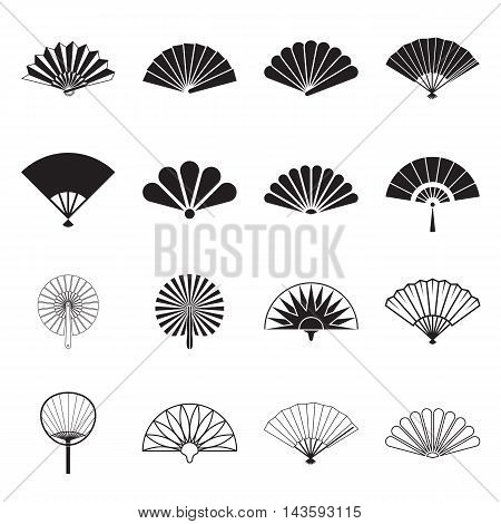 Collection of handheld fan icons isolated on a white background. Icons of folding and rigid fans. Vector illustration