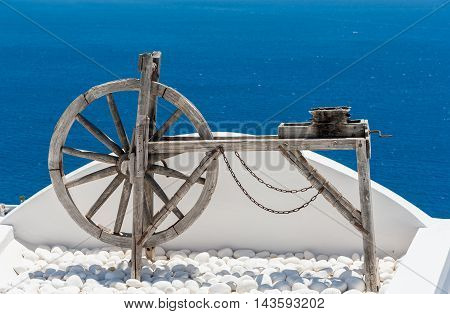 Woden tool on a terrace in Santorini - Greece