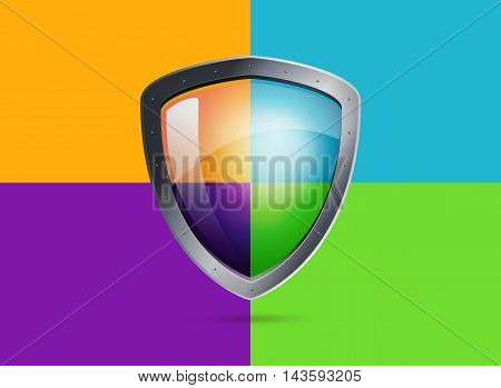 Realistic metal shield with transparent armored glass. Vector illustration of a protection or security. Colored backgrounds