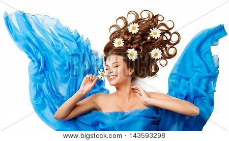Woman Smelling Flower Happy Girl Flowers Hair Style in Cloth White Isolated