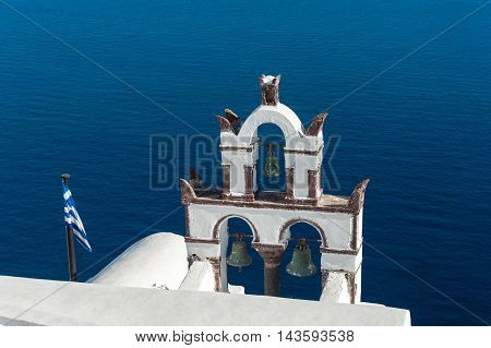 Old bell tower over the sea - Santorini - Greece