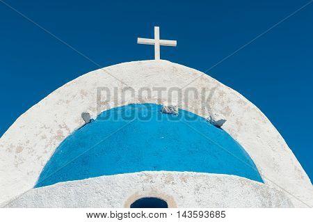 Close up of blue dome in Santorini - Greece