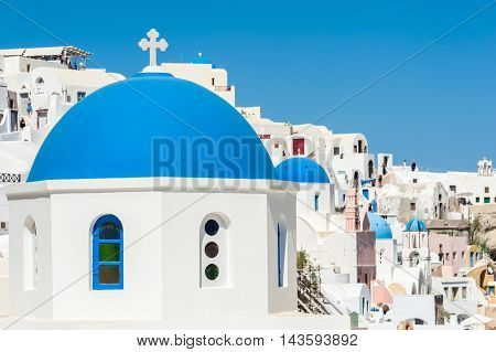 View of Oia with blue domes - Santorini - Greece