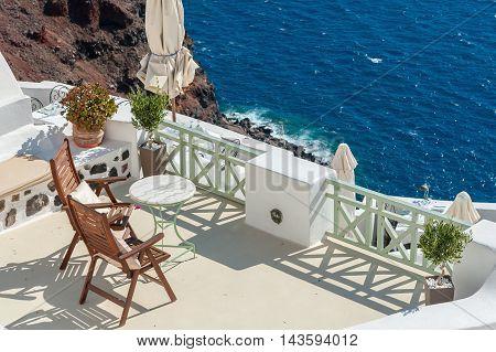 Beautiful terrace on the caldera of Santorini island - Greece