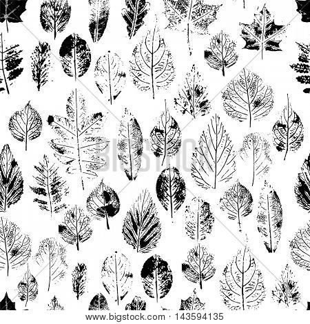 Seamless pattern with stamp leaves. Endless texture for nature design. Black and white