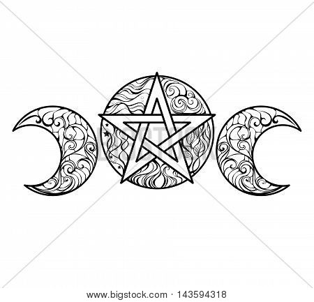 Pentagram with magic elements line art design for coloring books anti stress color. Magic symbol. Tattoo style.