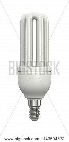 One Single Compact Fluorescent Lamp Isolated on White Background 3D Illustration